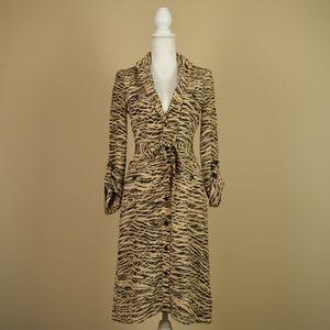 Ellen Tracy Animal Print 100% Silk Dress